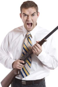 Screaming man holding a rifle