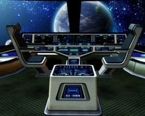 Imaginary flight control console in an interstellar spaceship