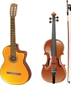 Picture of a guitar and a violin