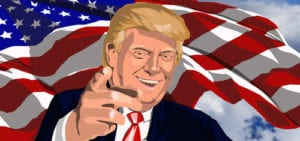 Illustration of Donald Trump and an American flag