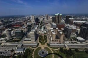 Photo of downtown St. Louis, Missouri, taken from the Gateway Arch