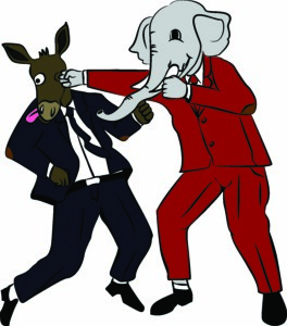 Illustration of an elephant (Republication) punching a donkey (Democrat)
