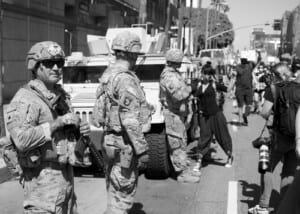 National Guard troops at a protest