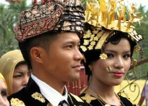 Photo of newlyweds in Indonesia