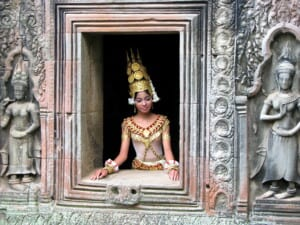 Photo of a Cambodian dancer at a temple