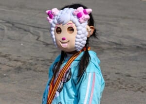 Photo of Chinese girl wearing a mask