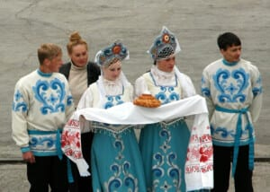 Photo of people in traditional Russian peasant dress